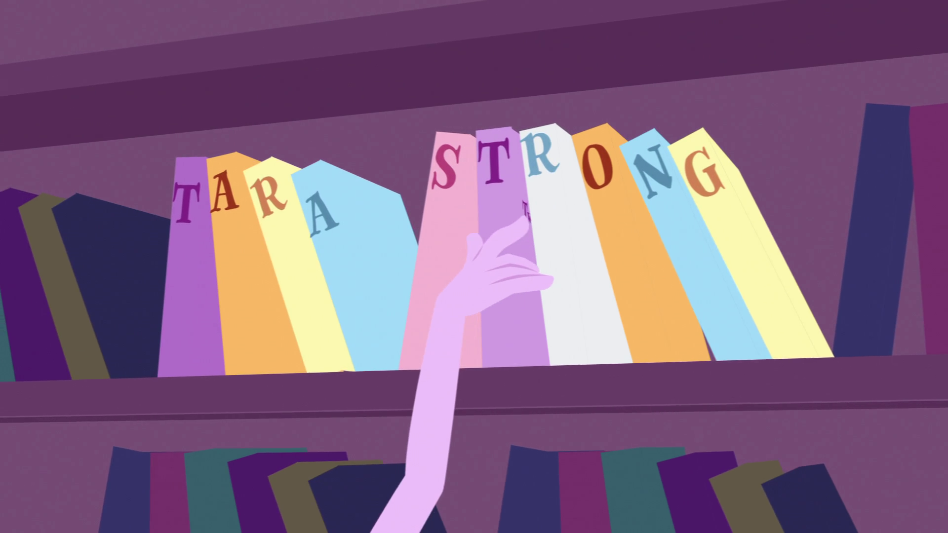 Archivo:Tara Strong credit bookshelf EG opening.png