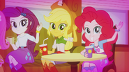 Rarity, Applejack, and Pinkie waving to DJ Pon-3 EG2