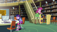 Twilight, Spike, and Cheerilee in the library EG