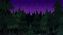 Camp Everfree forest skyline at night EG4