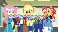 Rarity pushing costume rack out of hammerspace EG3