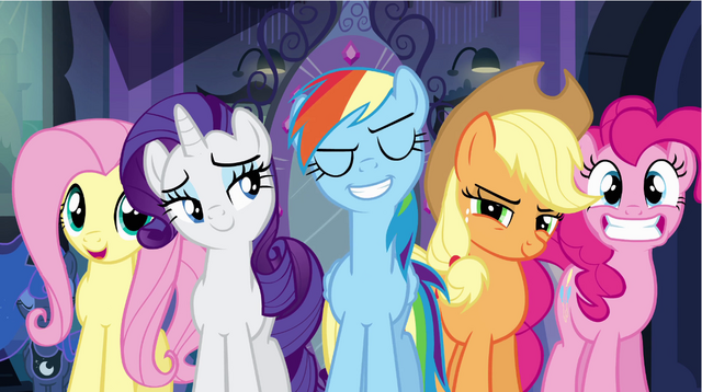 File:Rainbow Dash and friends standing in front of mirrior.png