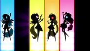 Silhouettes of Dash, Fluttershy, Applejack, and Pinkie EG2