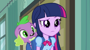 Twilight and Spike looking at Rarity EG