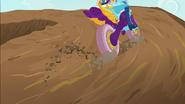 Rainbow kicks up dirt with her wheels EG3