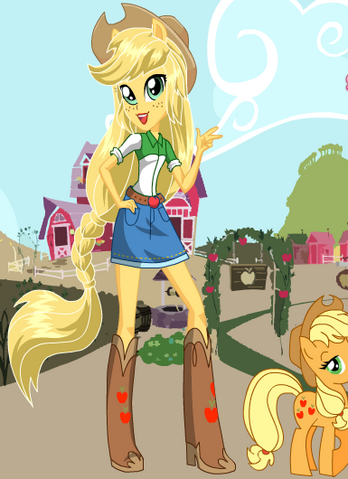 File:FANMADE EqG Applejack with pony counterpart.png