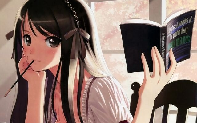 File:Anime girl contemplating happily with a book.jpg