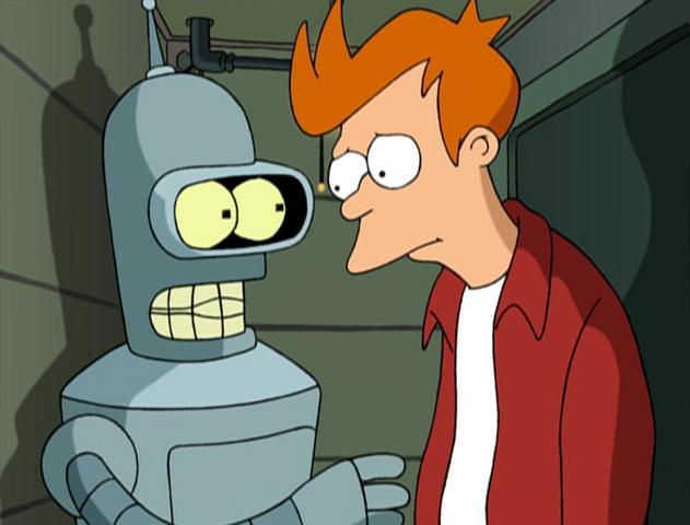 Archivo:Fry y Bender en un departamento para robots.png