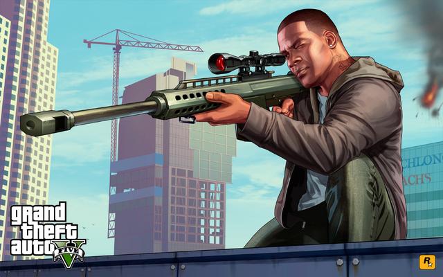 Archivo:Grand Theft Auto V Artwork - Franklin apuntando con un rifle de francotirador.png