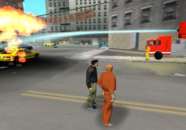 Archivo:Claude junto a 8-ball y un camion de bomberos Beta.PNG
