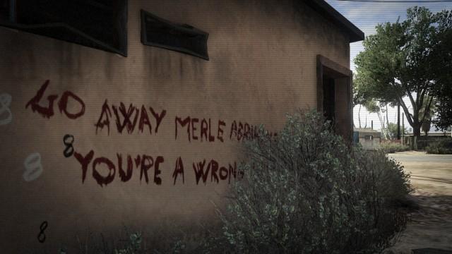 Archivo:Mensaje escrito con sangre aparentemente por Merle Abrahams.jpg