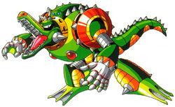 Wheel Gator, Pesado Tanque de Maldad Acolmillada. Modo Sobrecarga: El Ataque Taladro de Wheel Gator.