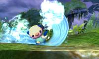 Oshawott usando surf SSB4 3DS