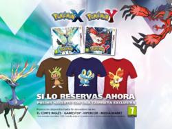 Camiseta Chespin, Froakie y Fennekin al reservar Pokémon XY.png