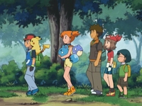 EP411 Ash, Misty, May, Max, Brock, Azurill y Pikachu