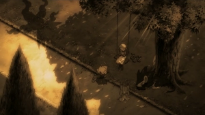 P10 Alicia tocando la hoja silbato junto a los Pokémon