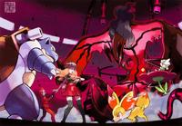 Ilustración de Yveltal en la base del Team Flare