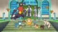 Profesor Sycamore/Ciprés junto a sus Pokémon.