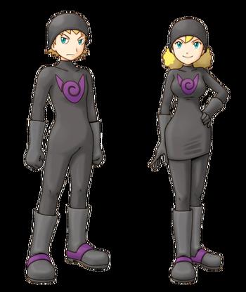 """Ilustración de reclutas del Equipo Pocalux en <a href=""""/wiki/Pok%C3%A9mon_Ranger:_Sombras_de_Almia"""" title=""""Pokémon Ranger: Sombras de Almia"""">Pokémon Ranger: Sombras de Almia</a>"""