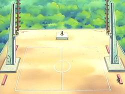 Campo de batalla del Gimnasio de Arborada en el anime