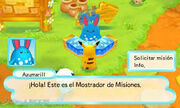Azumarill y el tablón de misiones MM3.jpg