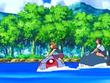 EP560 Alumnos cabalgando con sus Pokémon de tipo agua