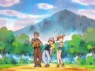 EP233 Ash, Brock y Misty sufriendo el daño del presente de Delibird