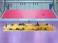 Campo de batalla del Gimnasio de Canal en el anime