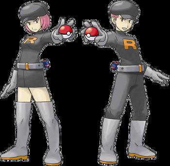 """Soldados del Team Rocket en <a href=""""/wiki/Pok%C3%A9mon_Oro_HeartGold_y_Plata_SoulSilver"""" title=""""Pokémon Oro HeartGold y Plata SoulSilver"""" class=""""mw-redirect"""">Pokémon Oro HeartGold y Plata SoulSilver</a>"""