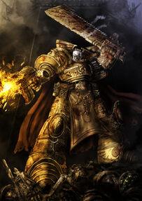 Rogal Dorn en medio de un combate