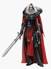 Hermana de Batalla Espada Bólter cofia