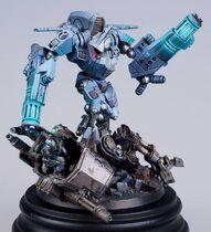 Miniatura diorama tau xv9 vs sentinel guardia imperial