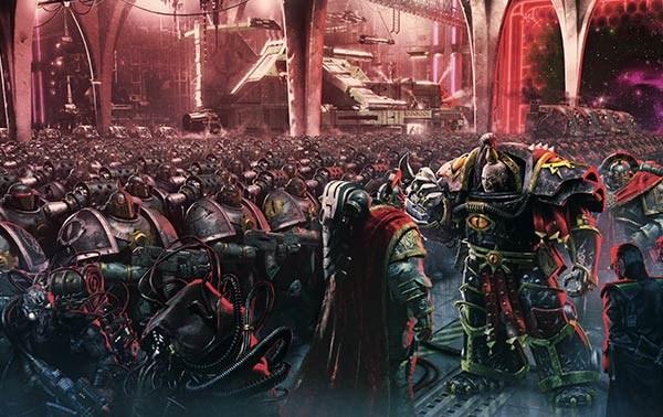 Ezekyle Abaddon Primer Capitán Hijos de Horus ante Justaerin.jpg