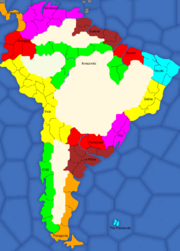 Map of South America, divided into areas