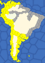 """""""Map showing South American provinces Spain will try to colonise"""""""