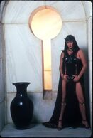 Sarah douglas black outfit in conan the destroyer 2