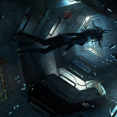 The interior of the mystery ship. Unlike The Expanse's other spacecraft, this stealth vessel has a strange, asymmetric design.