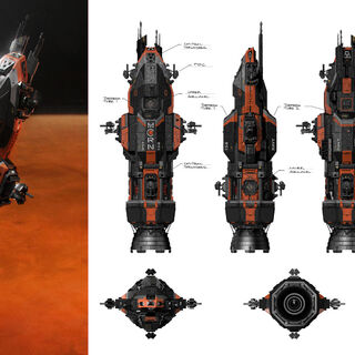 The exterior of the Rocinante. The Expanse's equivalent of the Millennium Falcon, the 'Roci' was one of the show's main design challenges.