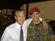 John Baran with Eric Roberts on-set of Expendables