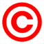 Red copyright symbol