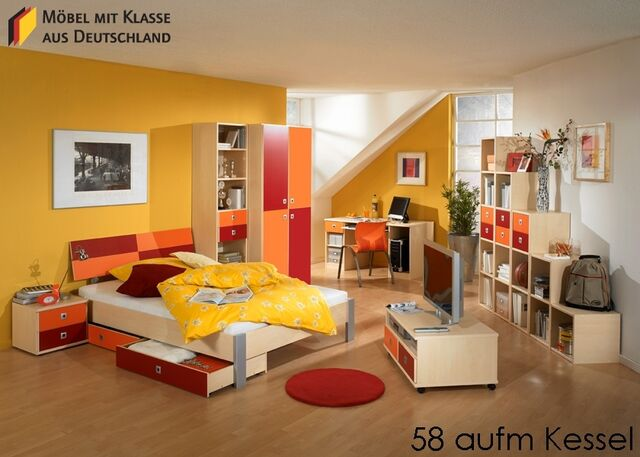Datei jugendzimmer komplett holz ahorn orange rot for Jugendzimmer ahorn