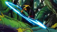 Azuma dodges the attack of Erza