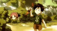 Romeo helps his father cover Natsu