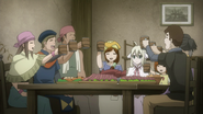 The townspeople cheering for Mavis