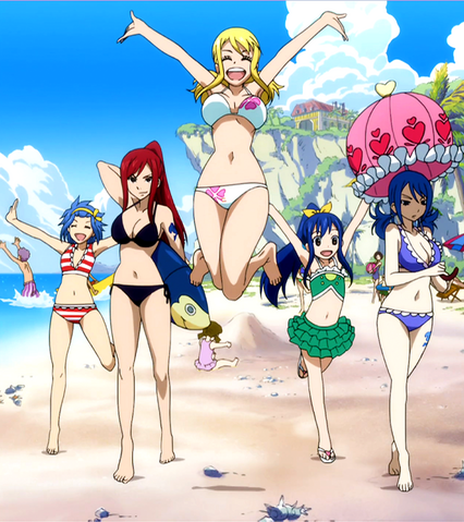 File:Fairy Tail Girls on the beach.png