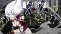 Mirajane defeats Tartaros troops.png