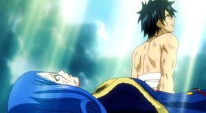 Juvia and Gray looks at the sky
