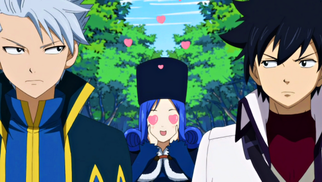 File:Gray, Lyon and Juvia traveling.png
