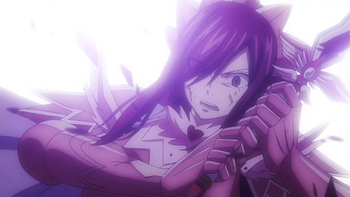 Erza's armor damaged by Kyôka