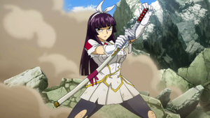 Kagura, unfazed by Minerva's attack
